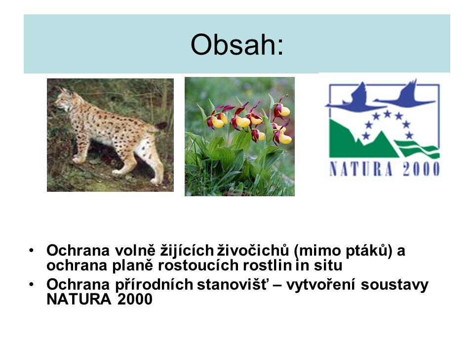 Obsah: Ochrana volně žijících živočichů (mimo ptáků) a ochrana planě rostoucích rostlin in situ.