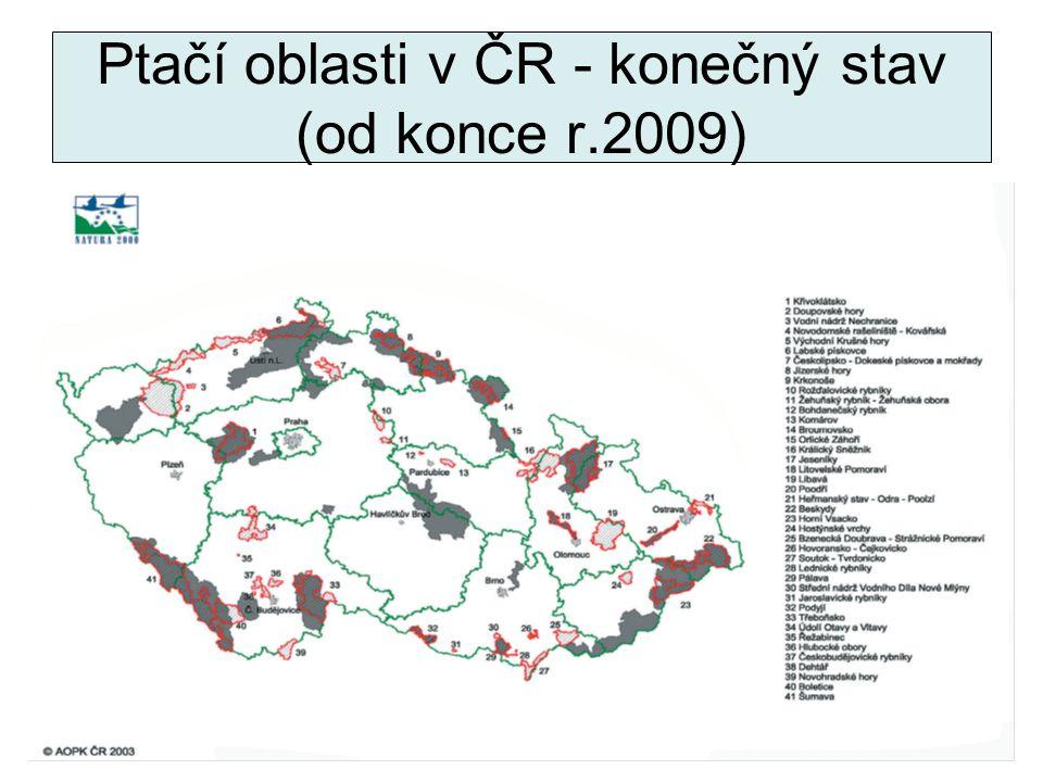 Ptačí oblasti v ČR - konečný stav (od konce r.2009)