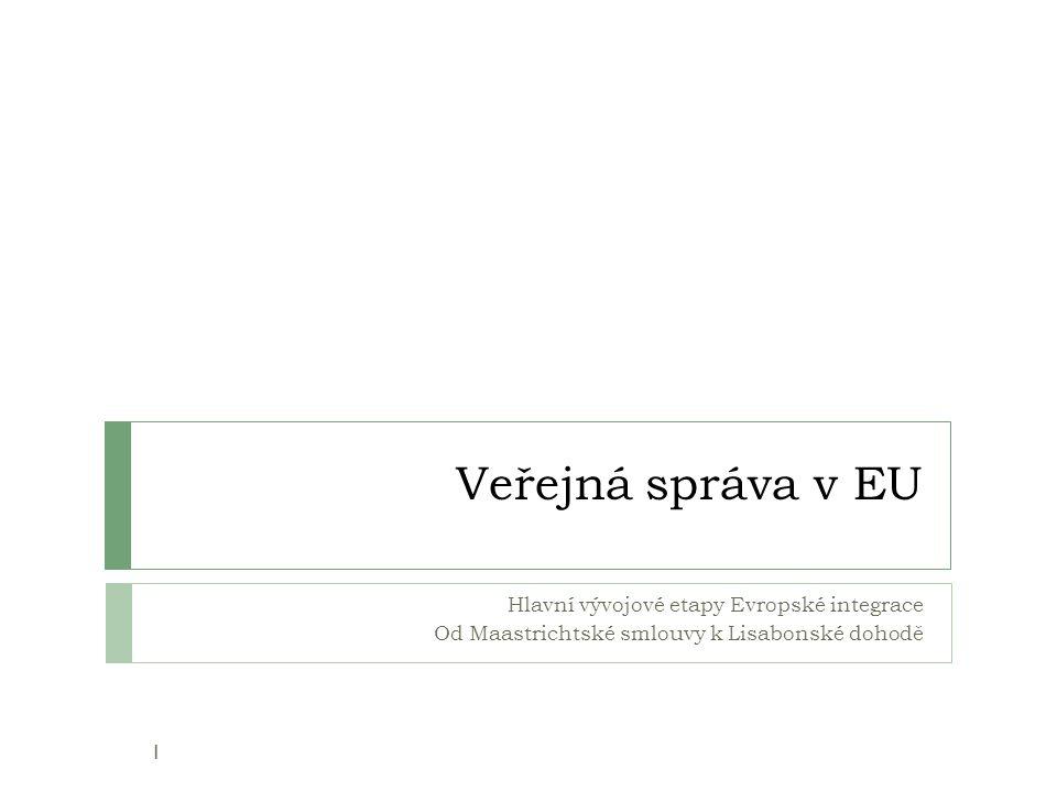 Veřejná správa v EU Hlavní vývojové etapy Evropské integrace