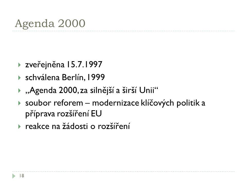Agenda 2000 zveřejněna 15.7.1997 schválena Berlín, 1999