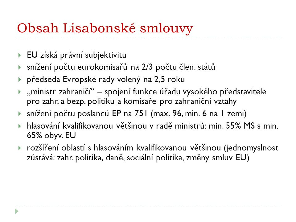 Obsah Lisabonské smlouvy