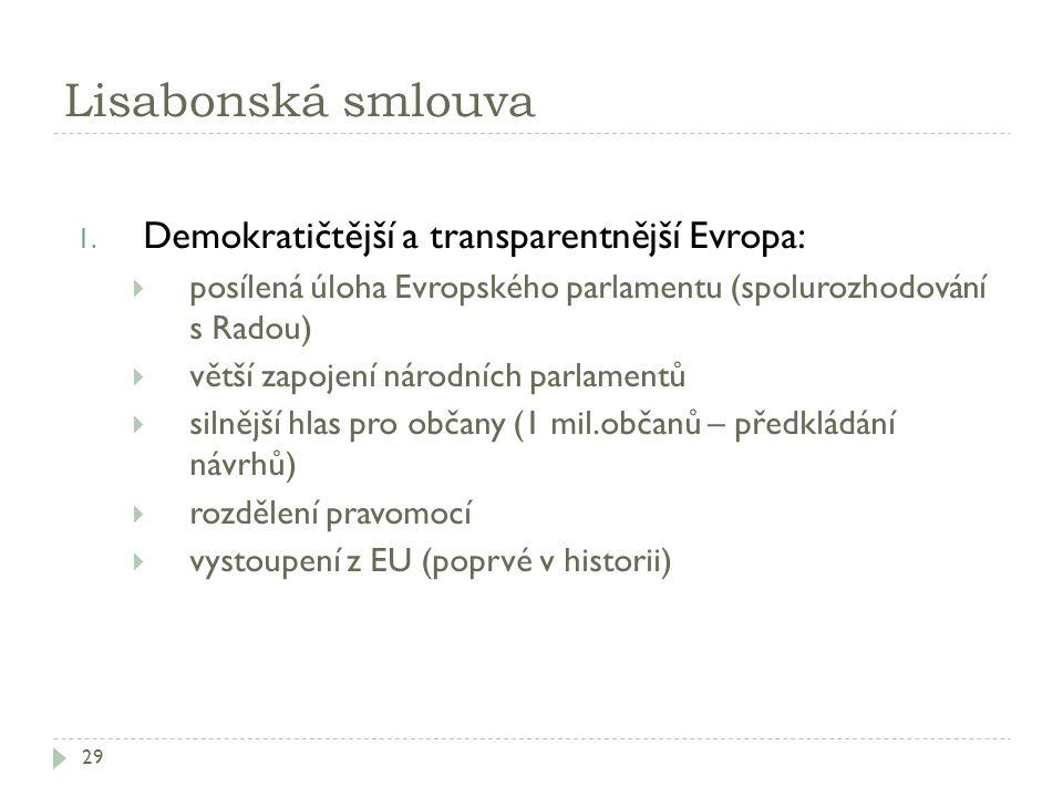 Lisabonská smlouva Demokratičtější a transparentnější Evropa: