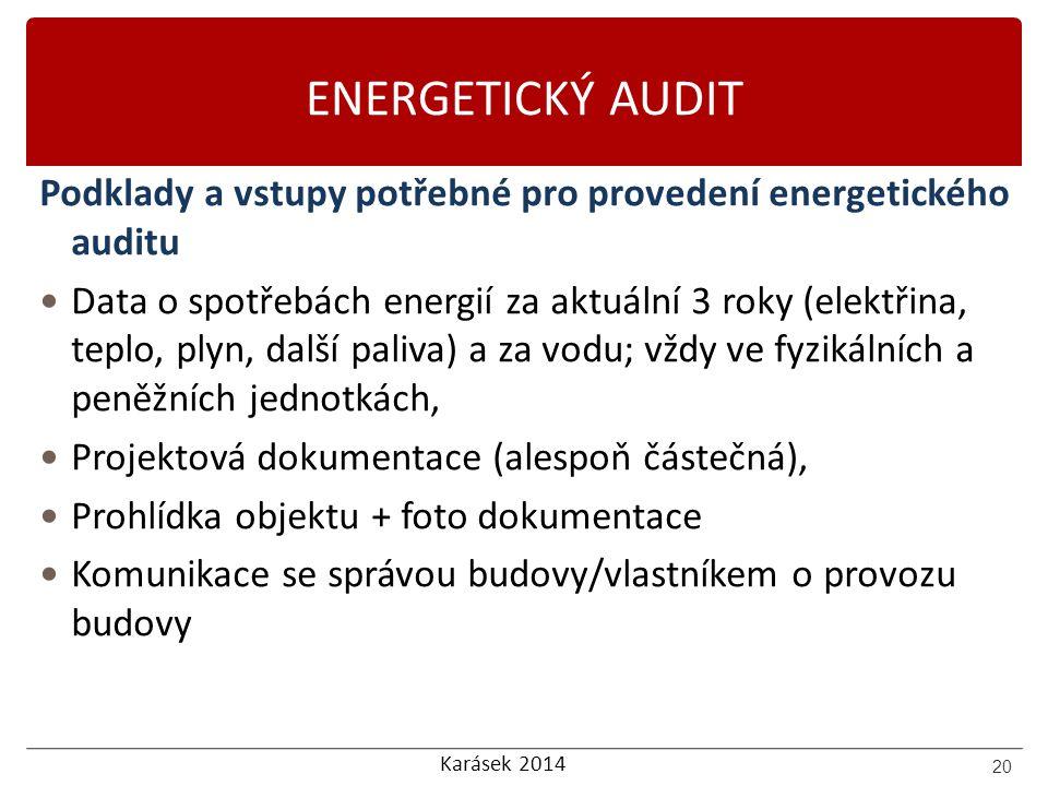 ENERGETICKÝ AUDIT Podklady a vstupy potřebné pro provedení energetického auditu.