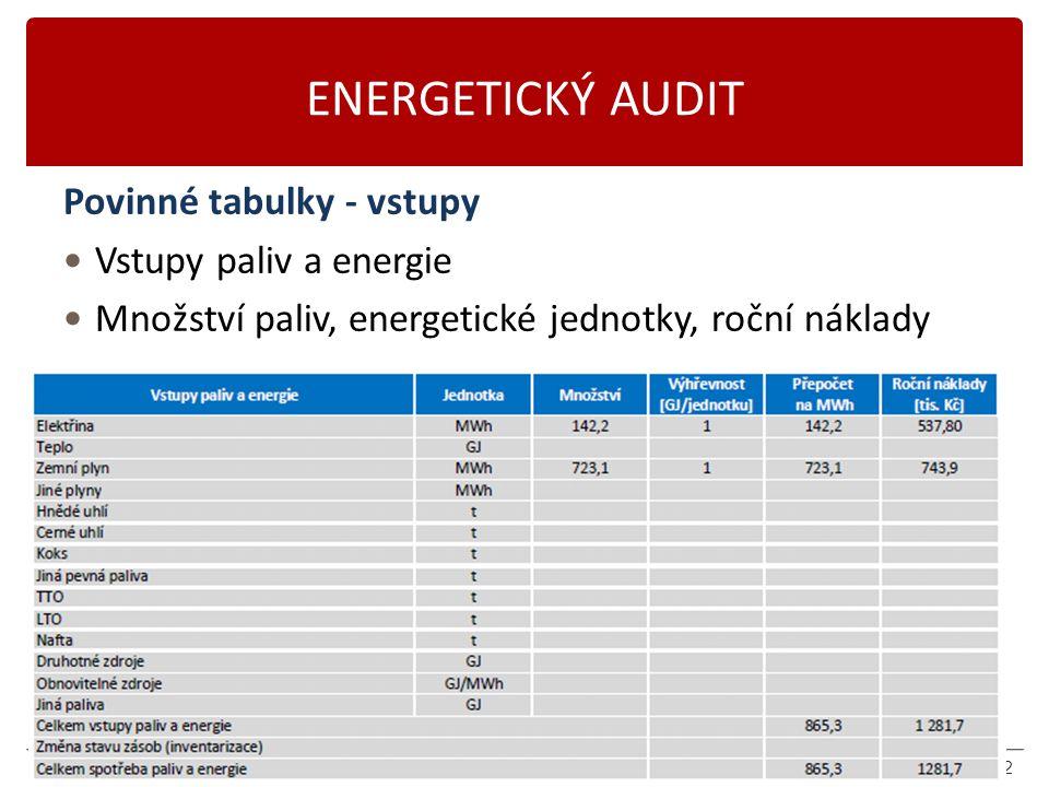 ENERGETICKÝ AUDIT Povinné tabulky - vstupy Vstupy paliv a energie