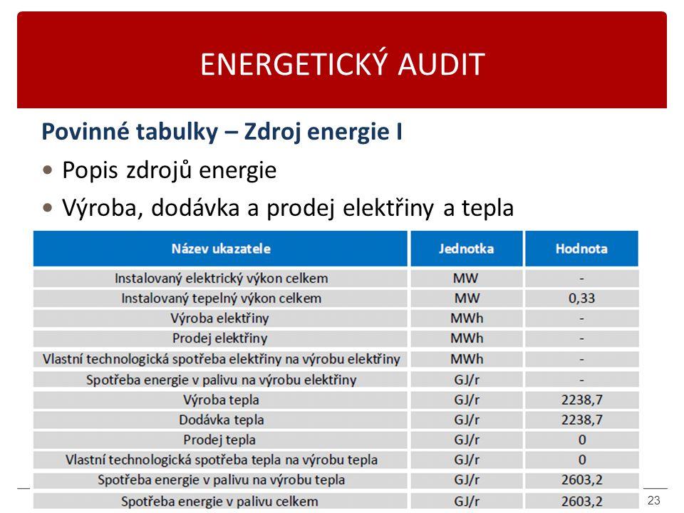 ENERGETICKÝ AUDIT Povinné tabulky – Zdroj energie I