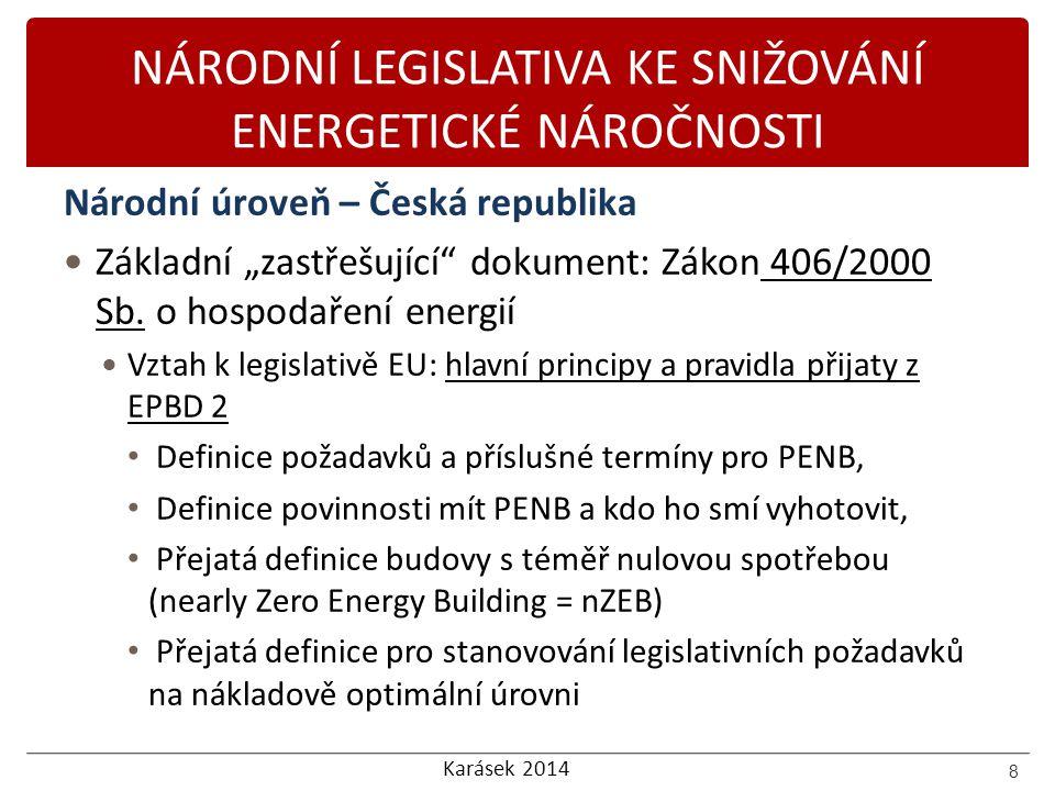 NÁRODNÍ LEGISLATIVA KE SNIŽOVÁNÍ ENERGETICKÉ NÁROČNOSTI