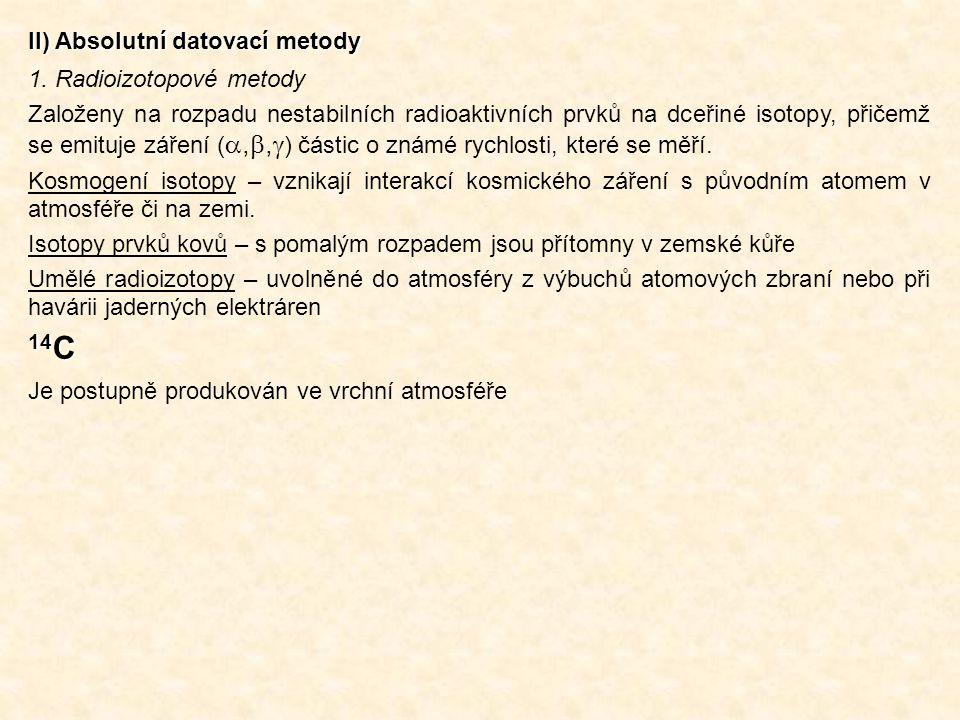 14C II) Absolutní datovací metody 1. Radioizotopové metody
