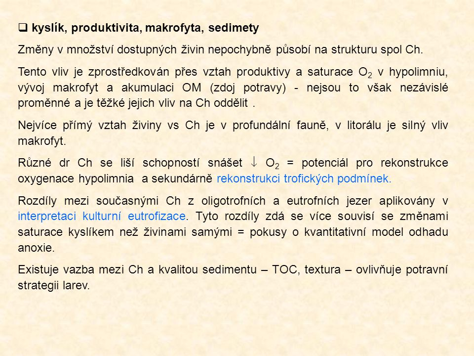 kyslík, produktivita, makrofyta, sedimety