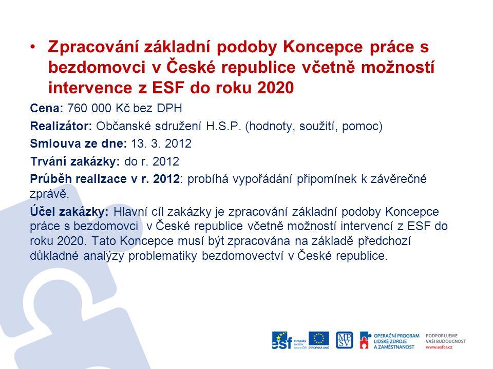 Zpracování základní podoby Koncepce práce s bezdomovci v České republice včetně možností intervence z ESF do roku 2020