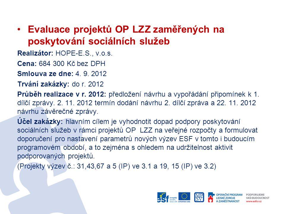 Evaluace projektů OP LZZ zaměřených na poskytování sociálních služeb