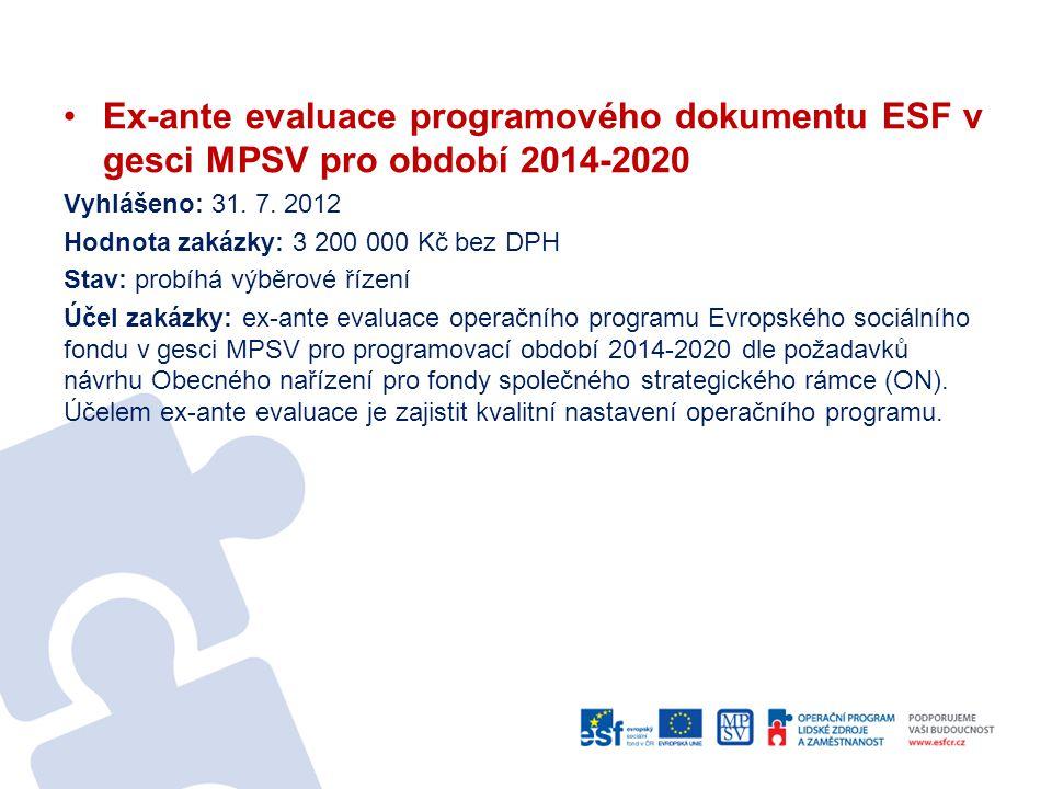 Ex-ante evaluace programového dokumentu ESF v gesci MPSV pro období 2014-2020