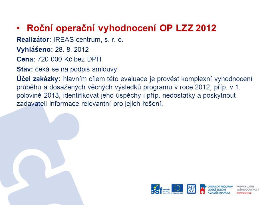 Roční operační vyhodnocení OP LZZ 2012