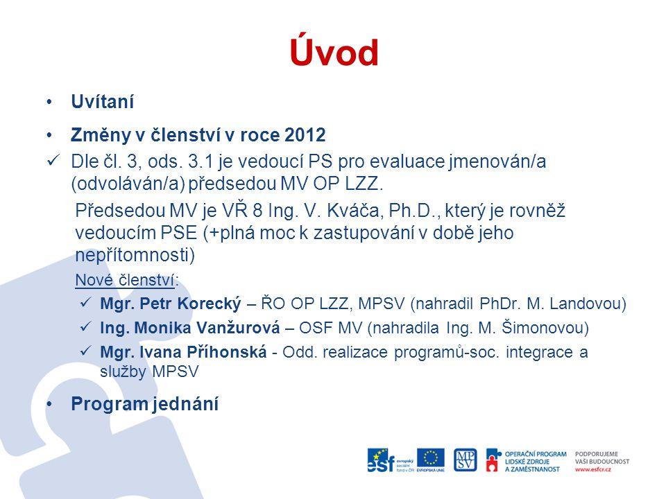 Úvod Uvítaní Změny v členství v roce 2012