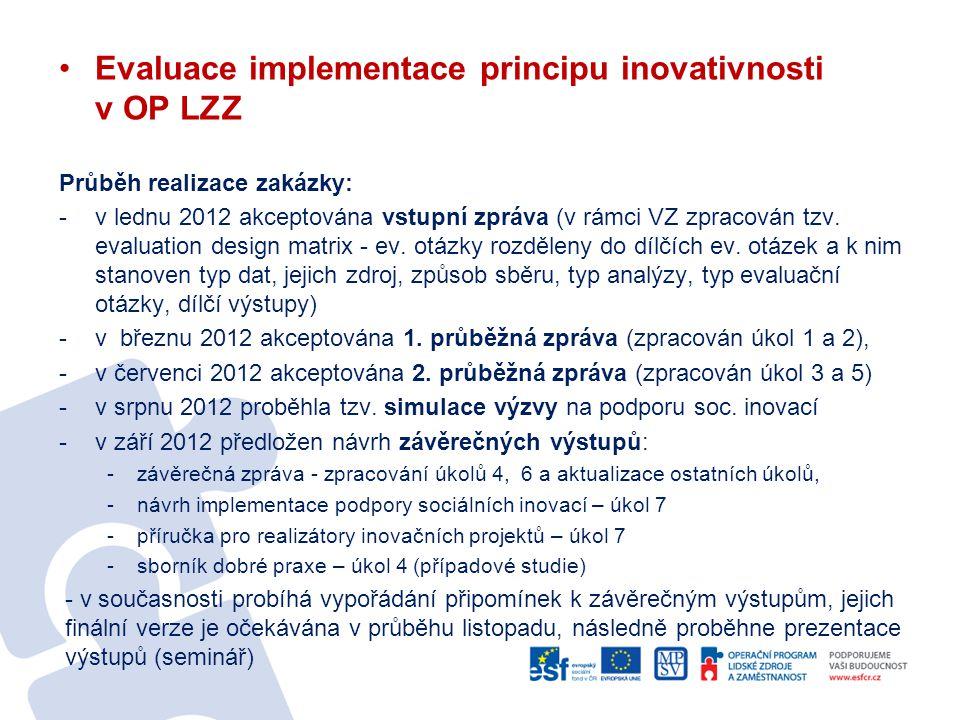 Evaluace implementace principu inovativnosti v OP LZZ