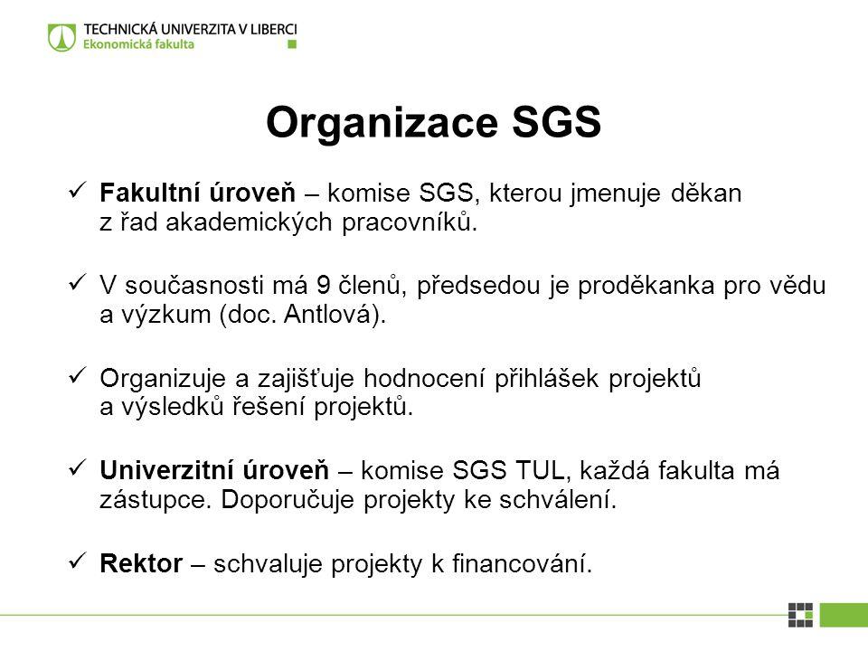 Organizace SGS Fakultní úroveň – komise SGS, kterou jmenuje děkan z řad akademických pracovníků.