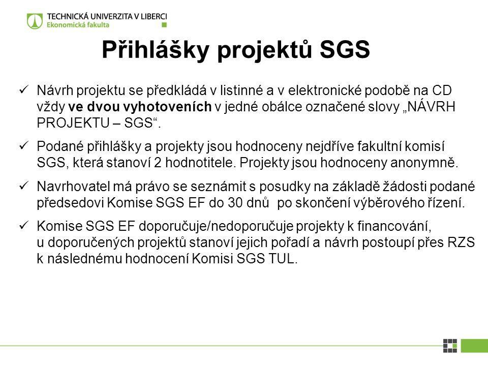 Přihlášky projektů SGS