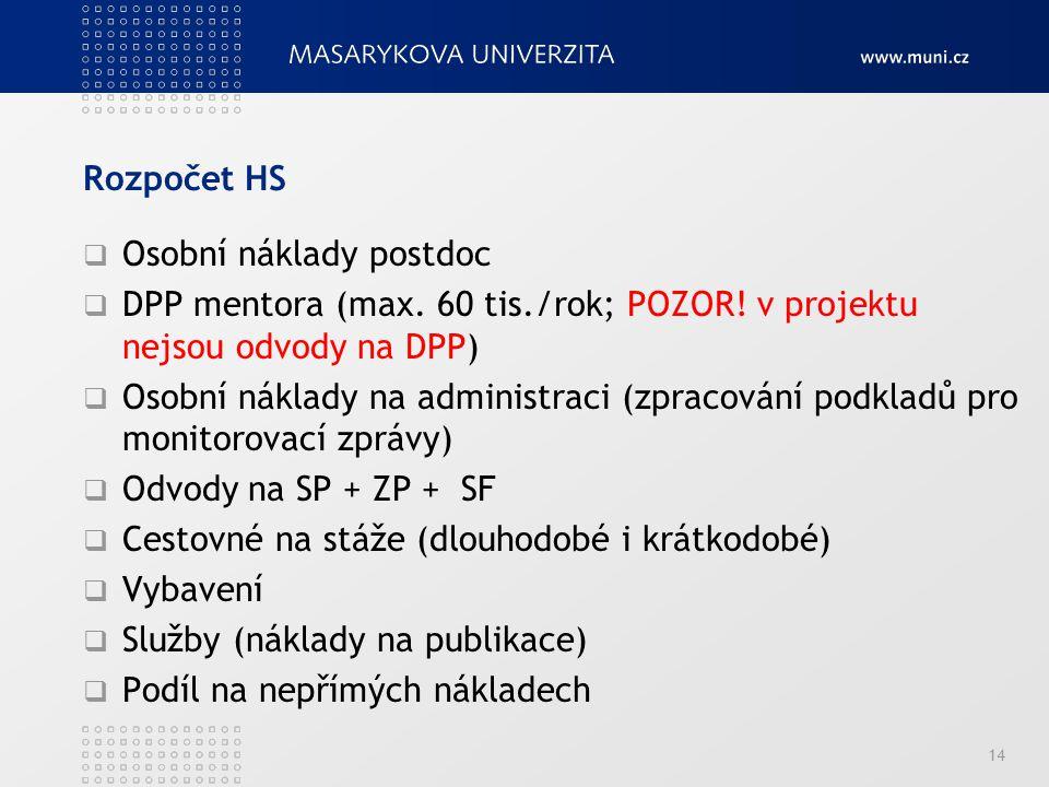 Rozpočet HS Osobní náklady postdoc. DPP mentora (max. 60 tis./rok; POZOR! v projektu nejsou odvody na DPP)