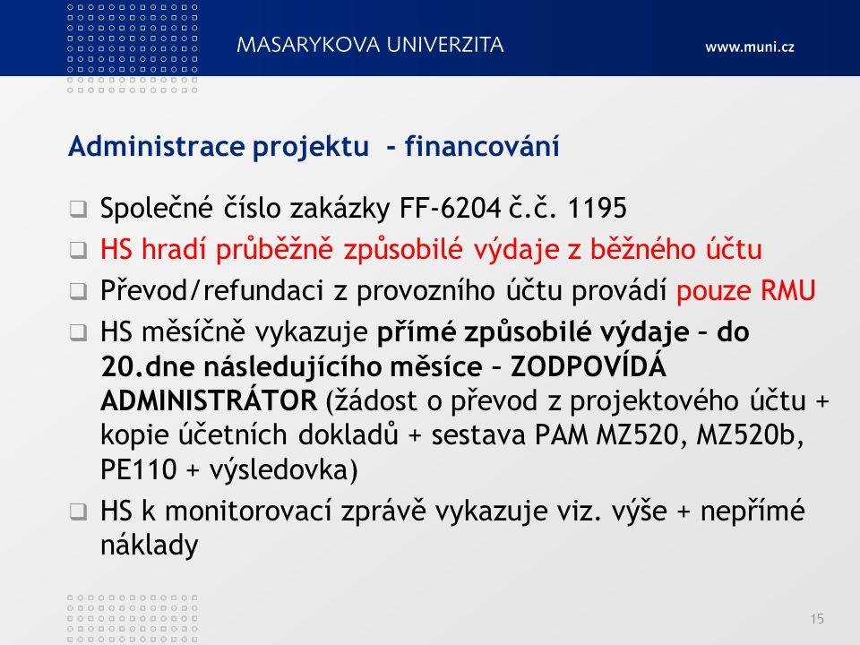 Administrace projektu - financování