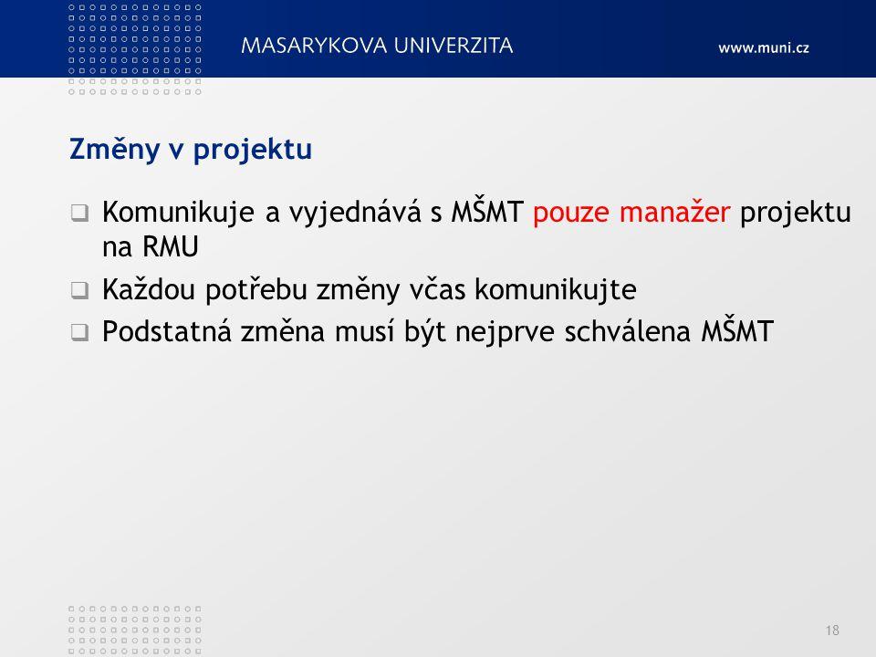 Změny v projektu Komunikuje a vyjednává s MŠMT pouze manažer projektu na RMU. Každou potřebu změny včas komunikujte.