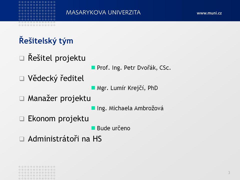 Řešitelský tým Řešitel projektu Vědecký ředitel Manažer projektu