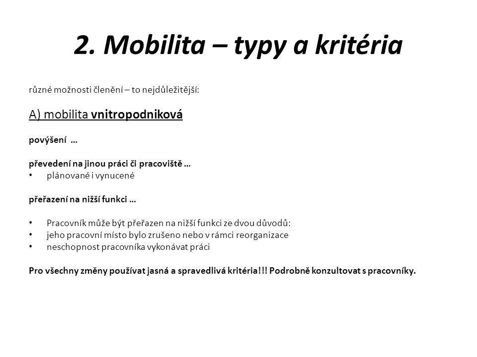 2. Mobilita – typy a kritéria
