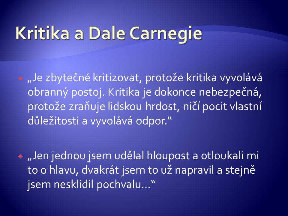 Kritika a Dale Carnegie