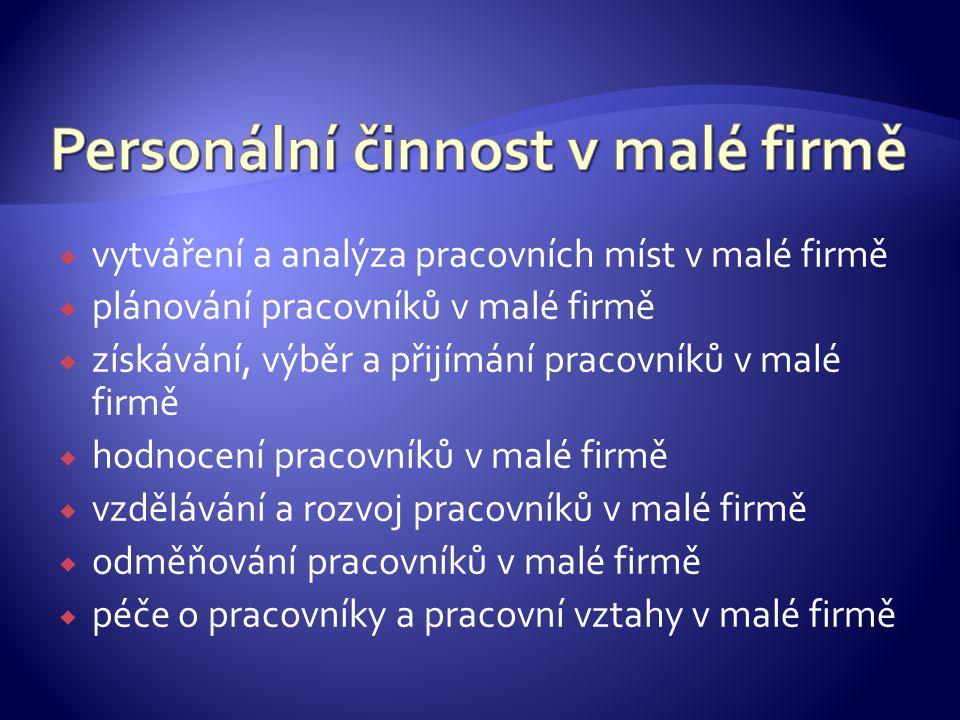 Personální činnost v malé firmě