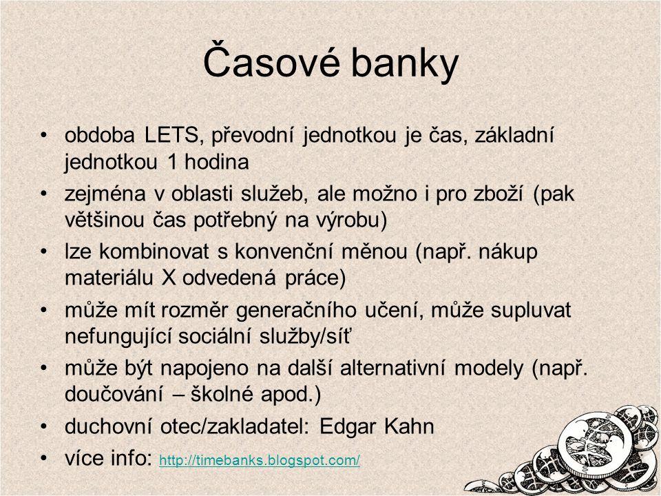 Časové banky obdoba LETS, převodní jednotkou je čas, základní jednotkou 1 hodina.