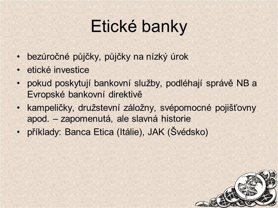 Etické banky bezúročné půjčky, půjčky na nízký úrok etické investice