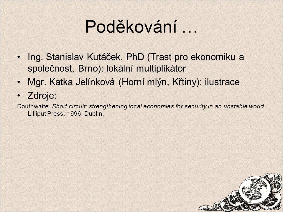 Poděkování … Ing. Stanislav Kutáček, PhD (Trast pro ekonomiku a společnost, Brno): lokální multiplikátor.