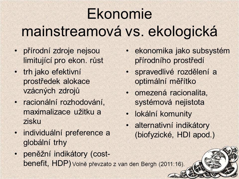 Ekonomie mainstreamová vs. ekologická