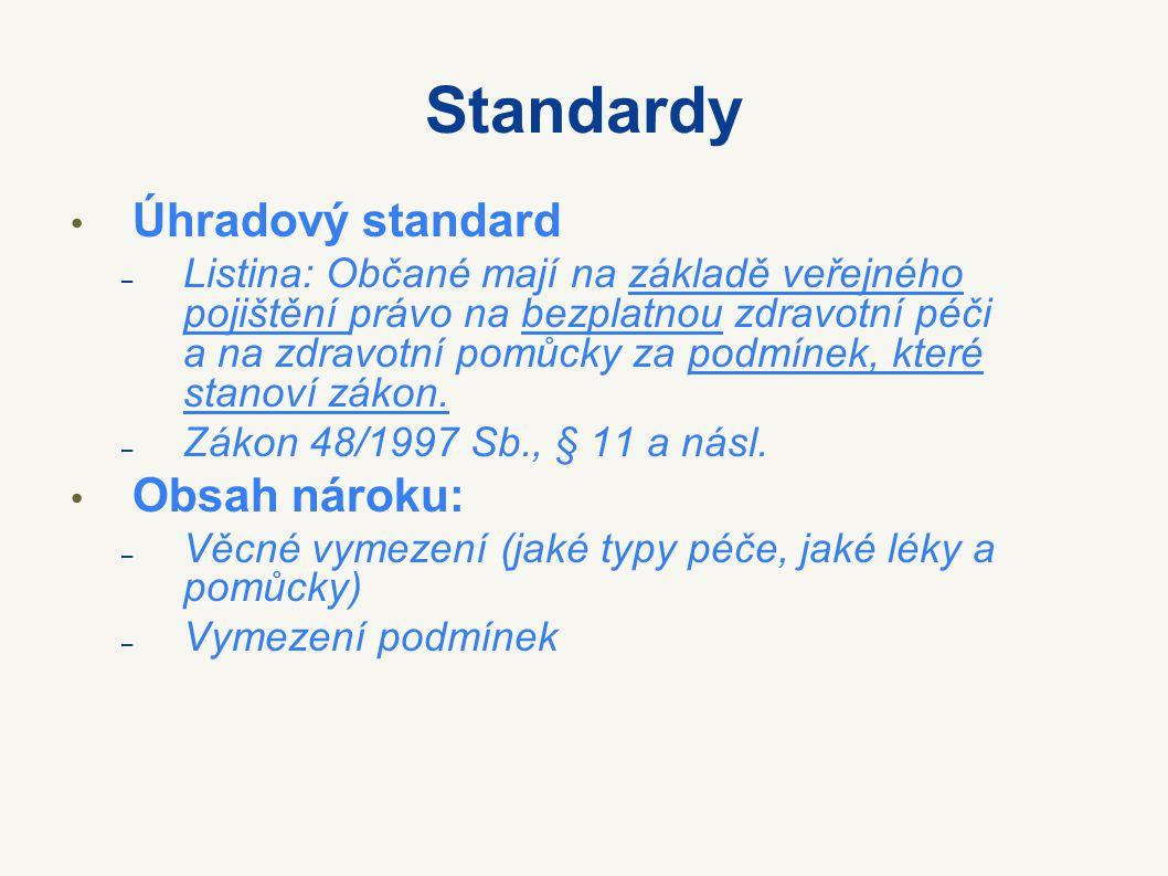 Standardy Úhradový standard Obsah nároku: