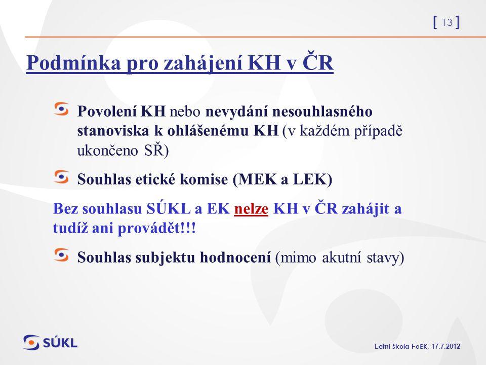 Podmínka pro zahájení KH v ČR