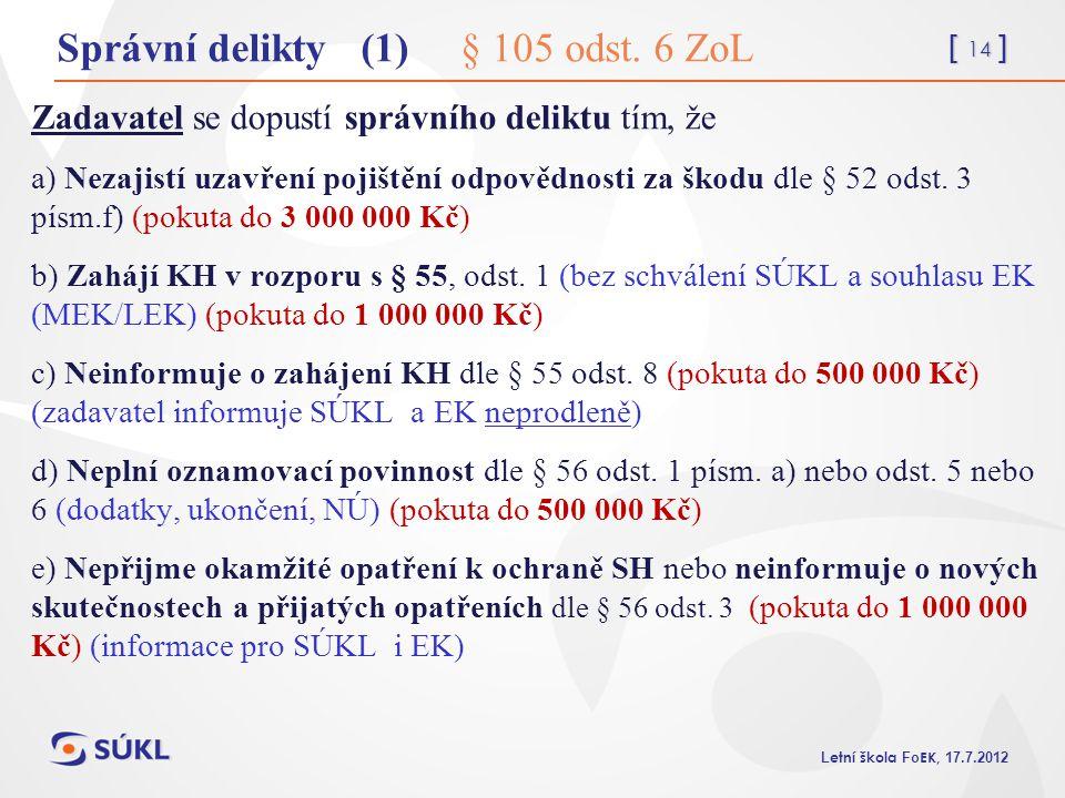 Správní delikty (1) § 105 odst. 6 ZoL