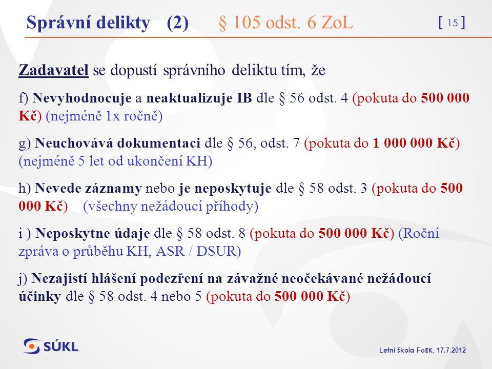 Správní delikty (2) § 105 odst. 6 ZoL