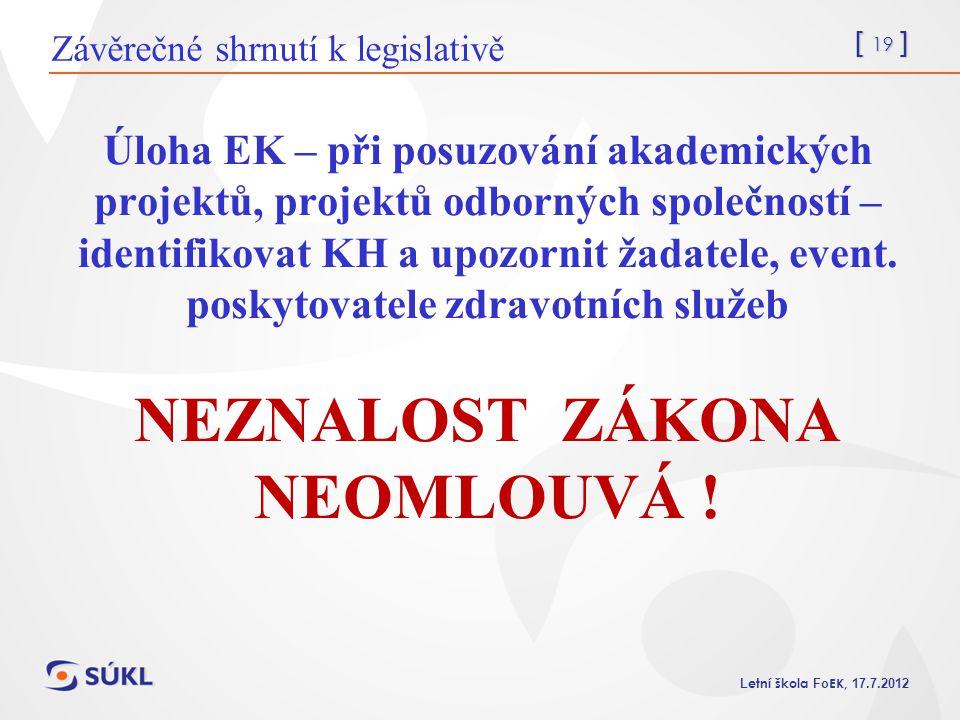 Závěrečné shrnutí k legislativě