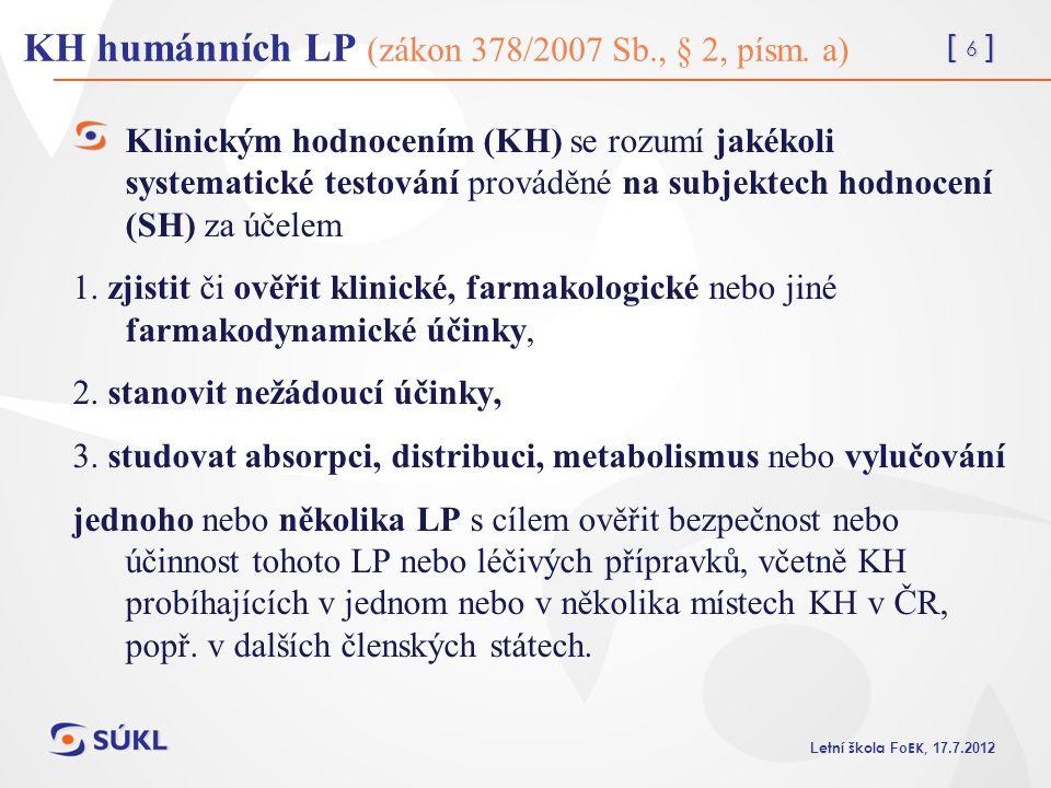KH humánních LP (zákon 378/2007 Sb., § 2, písm. a)