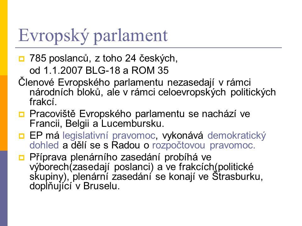 Evropský parlament 785 poslanců, z toho 24 českých,