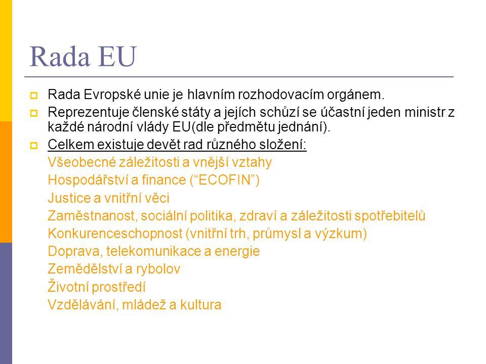 Rada EU Rada Evropské unie je hlavním rozhodovacím orgánem.