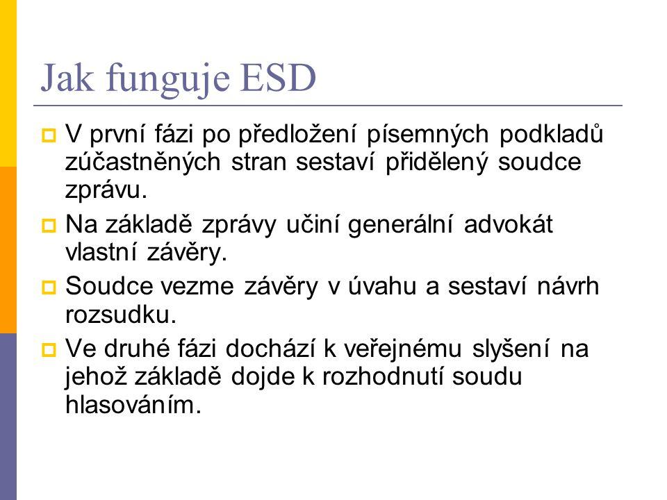 Jak funguje ESD V první fázi po předložení písemných podkladů zúčastněných stran sestaví přidělený soudce zprávu.