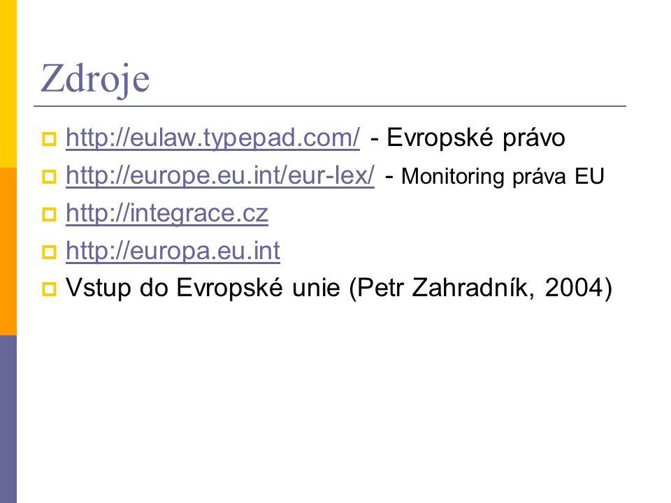Zdroje http://eulaw.typepad.com/ - Evropské právo
