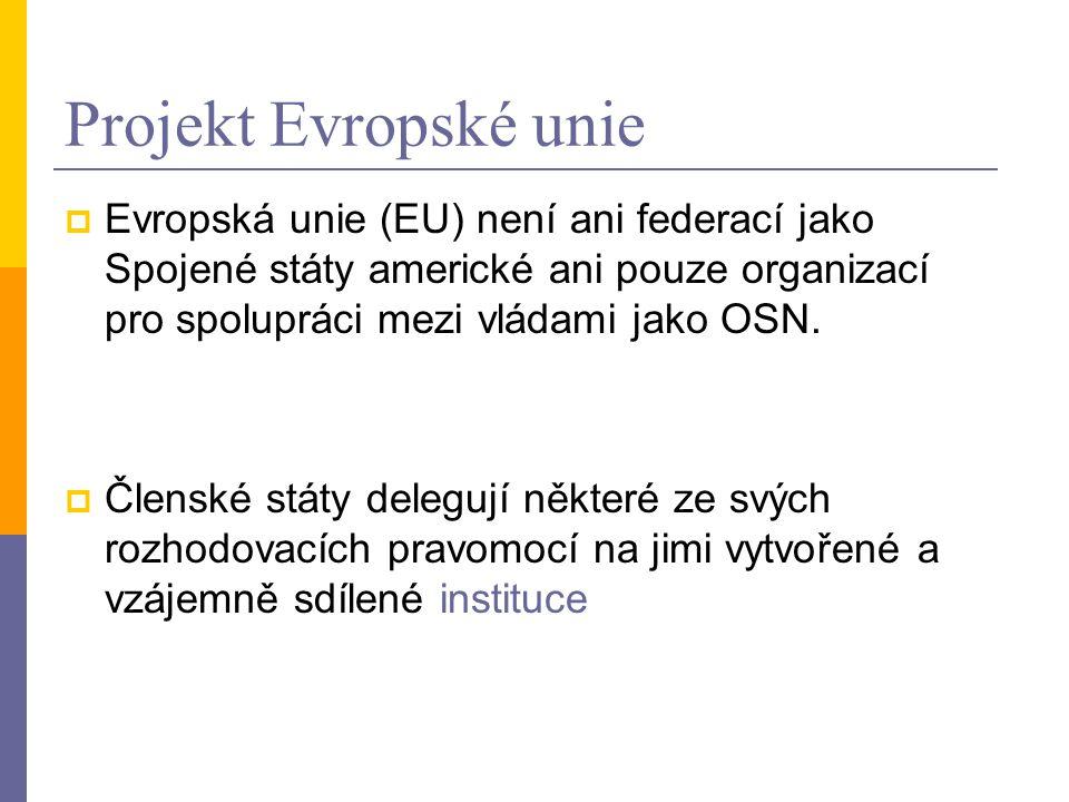 Projekt Evropské unie Evropská unie (EU) není ani federací jako Spojené státy americké ani pouze organizací pro spolupráci mezi vládami jako OSN.