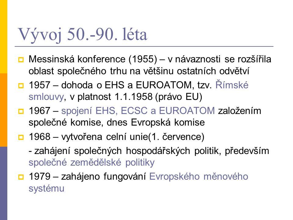 Vývoj 50.-90. léta Messinská konference (1955) – v návaznosti se rozšířila oblast společného trhu na většinu ostatních odvětví.