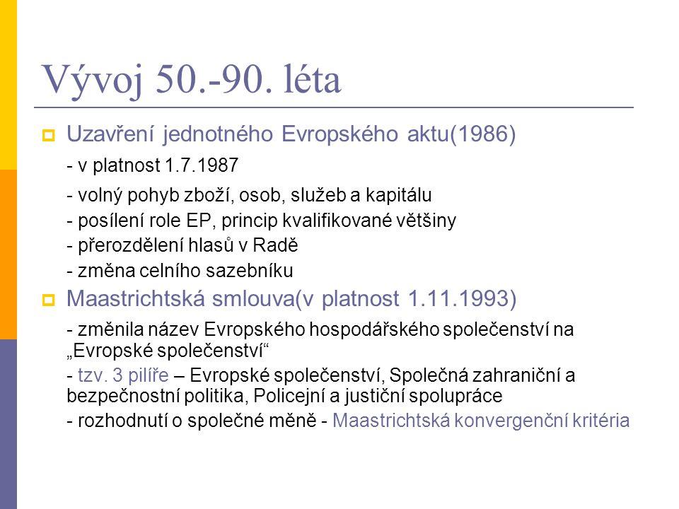 Vývoj 50.-90. léta Uzavření jednotného Evropského aktu(1986)