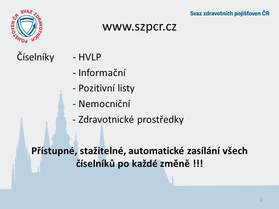 www.szpcr.cz Číselníky - HVLP - Informační - Pozitivní listy