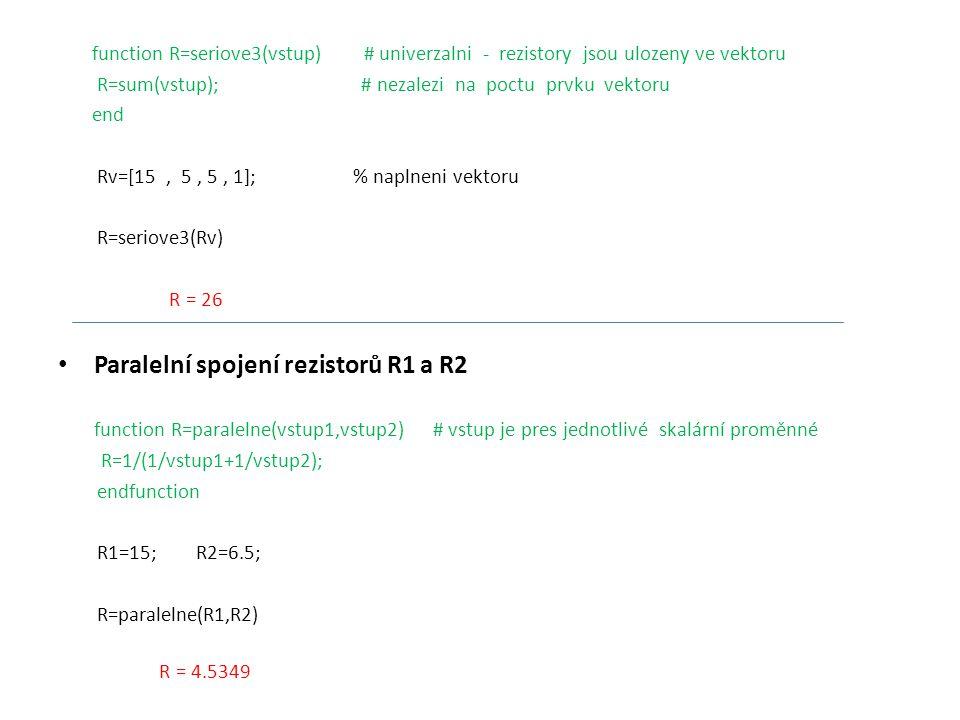 Paralelní spojení rezistorů R1 a R2