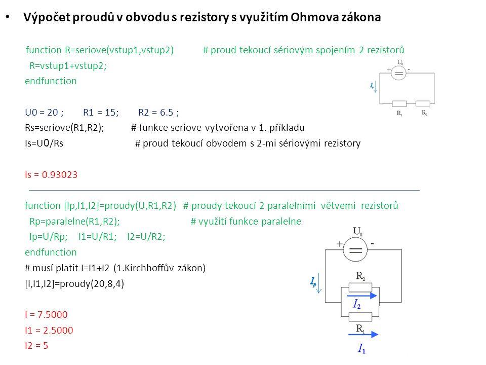 Výpočet proudů v obvodu s rezistory s využitím Ohmova zákona