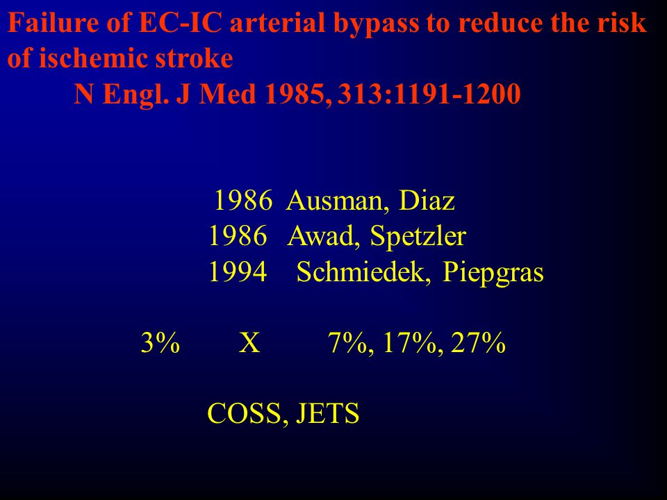 Failure of EC-IC arterial bypass to reduce the risk of ischemic stroke