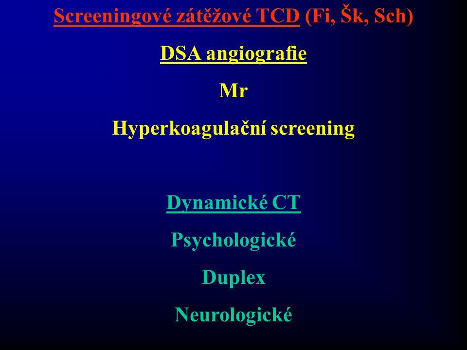 Screeningové zátěžové TCD (Fi, Šk, Sch) Hyperkoagulační screening