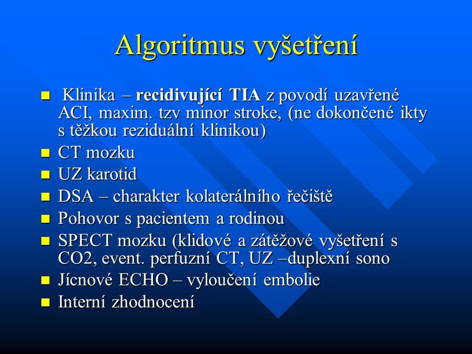 Algoritmus vyšetření Klinika – recidivující TIA z povodí uzavřené ACI, maxim. tzv minor stroke, (ne dokončené ikty s těžkou reziduální klinikou)